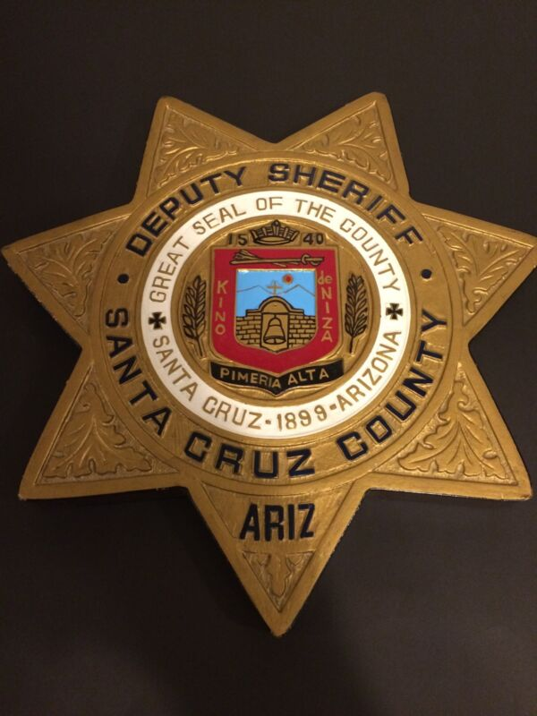 Santa Cruz Co. AZ Sheriff Hand Carved/Painted Badge Plaque