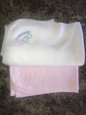 2 Baby Blankets Carters Pink Waffle Weave - white soft I Love my Daddy