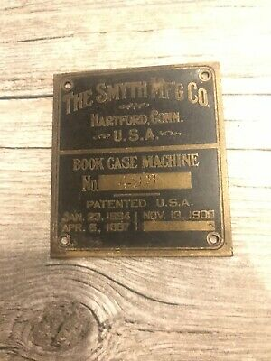 Vtg Smyth Mfg Co Hartford Connecticut Book Case Serial # Brass Metal Emblem Sign