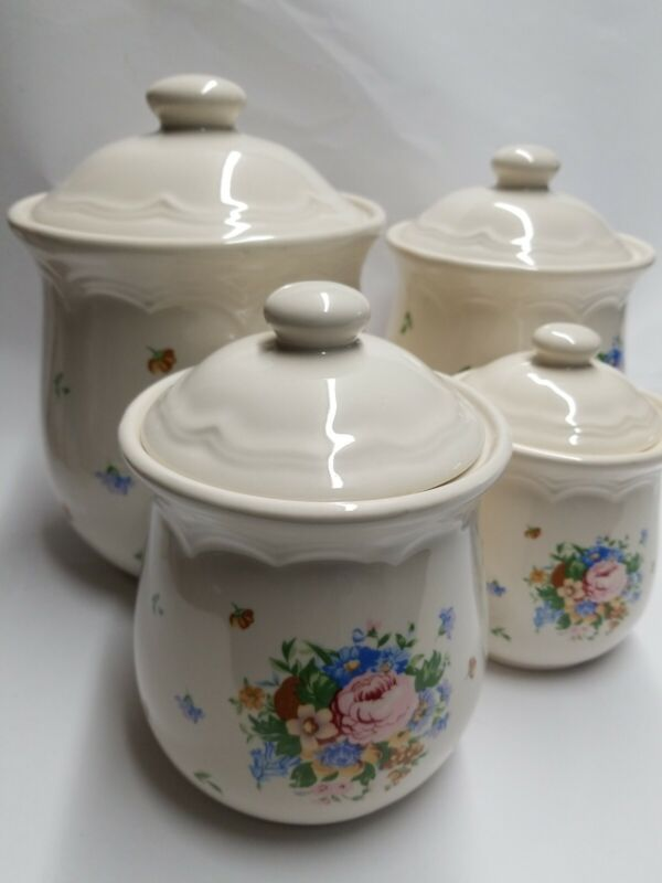 Vintage 4 Canister Set  Country Ceramic Blue Yellow White Made in Taiwan