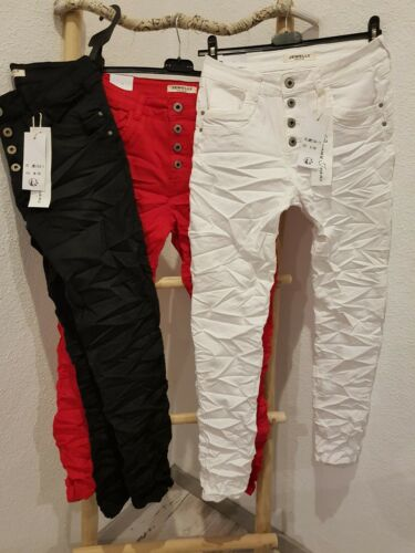 ❌coole Jewelly Damen Jeans Hose Boyfriend Baggy Knöpfe 34/36-42 schwarz rot weiß