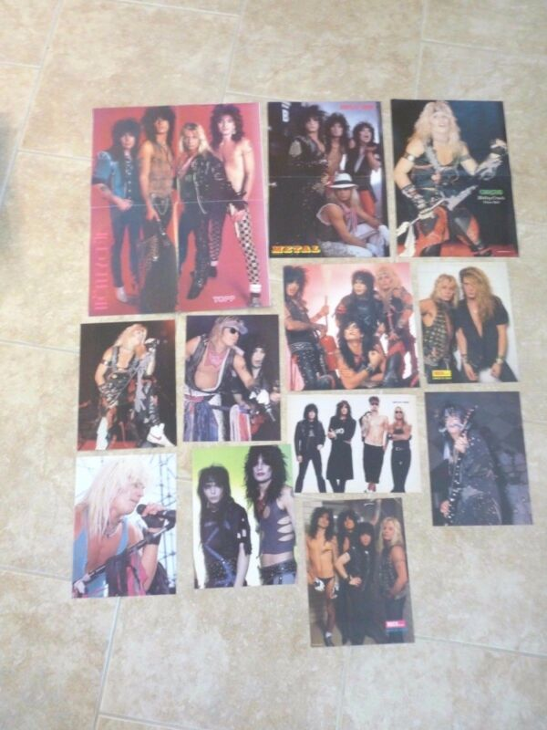 Motley Crue Lot of 12 Vintage Magazine Posters & Photos Vince Nikki Tommy Mick