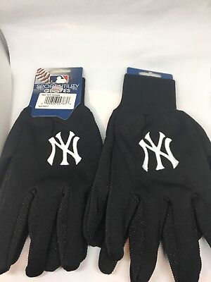 NEW YORK YANKEES ~ Adult Stadium Gloves ~ New! Black Unisex Two Pairs