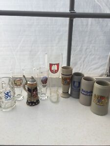 "German beer glasses (steins, wheat beer glasses and ""Stiefel"")"
