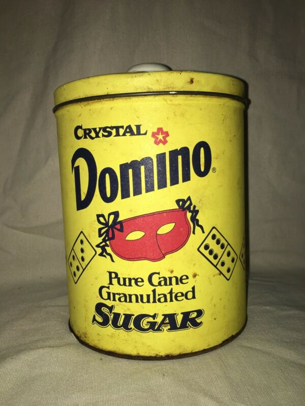 "CRYSTAL DOMINO PURE CANE Confectioners SUGAR METAL TIN CAN 7.5"" H"