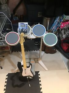 Rock Band for Wii with Guitar controller and drum kit