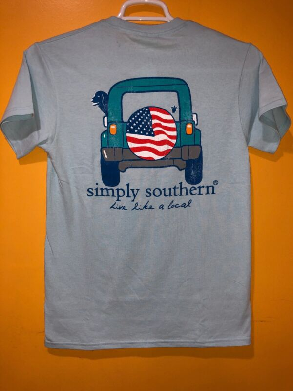 Youth Simply Southern T-shirt Unisex Collection Size Small Color Light Blue