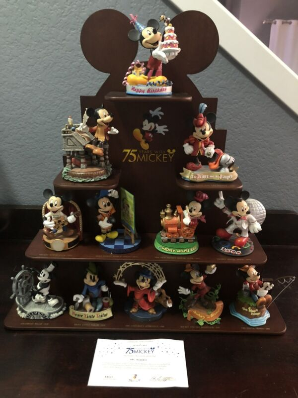 Disney Danbury 75 Years With Mickey Mouse Collection Of 12 Figurines With Stand