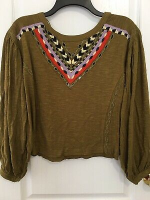 NWT Free People Hand Me Down Embroidered Top In Moss Size  L  Msrp $98.