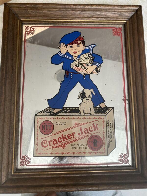Vintage Cracker Jack Advertising Mirror Glass Sign Wood Framed OriginalPicture