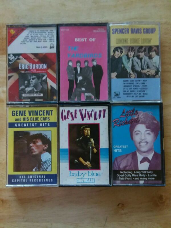 Early Rock 6-Cassette Lot -Yardbirds,Gene Vincent,Little Richard,Eric Burdon Etc