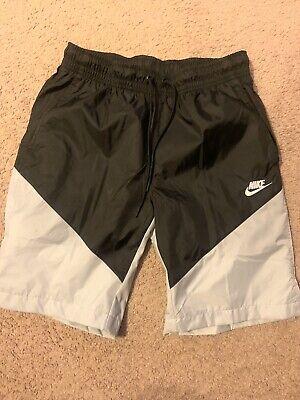 Nike Windbreaker Shorts Black And Grey W/ White Swoosh
