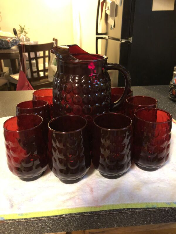 Vintage Anchor Hocking Ruby Red Glass Bubble Pitcher 64 Oz And 8 Matching glass