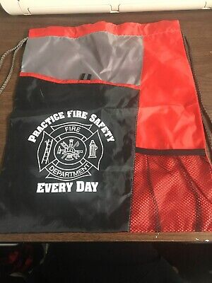 Fire Department Maltese Cross Fire Safety Draw String Bag Black & Red NEW Fire Department Bag