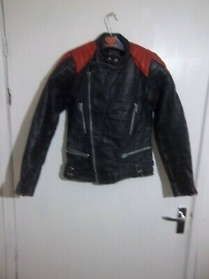 VINTAGE 80'S DISTRESSED LEATHER PERFECTO MOTORCYCLE JACKET SIZE XXS