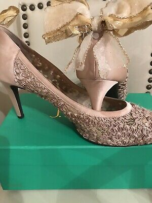 J. Renee Womens Champagne Champagne Pumps Size 13 (80622) With Bow Modification - Womens Size 13 Pumps