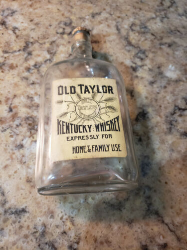 Vintage Old Taylor Kentucky Whiskey  Pint Cork Top Antique Bottle Family Use