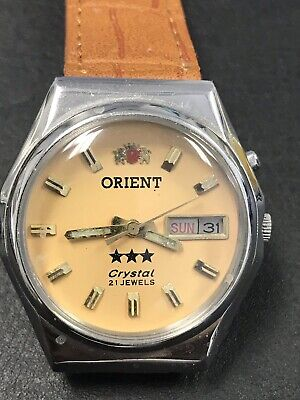 Vintage Orient Watch Automatic W/ Day & Date In Cream Dial