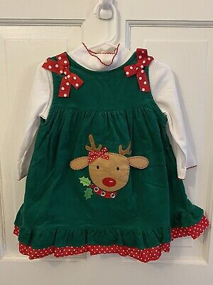 Rare Editions Baby Girl Green Corderoy Christmas Jumper With Top Size 24M EUC