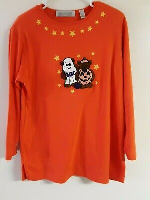 Vintage Karen Scott Long Sleeve Pullover Halloween Shirt Bears in Costume Stars ](Karen Halloween Costume)