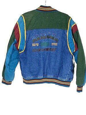 Arizona Jean Company Vintage Varsity Denim Jean Jacket Kids L 14-16 Mens XS S