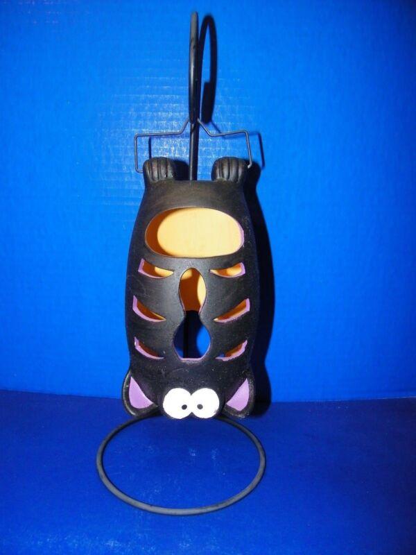 "Halloween Fall Hanging Pottery Black Bat Candleholder w Metal Hanger Stand 15"""