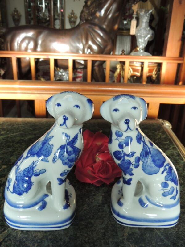 BEAUTIFUL Pair DOG Figurines HP COBALT Blue FLOWERS  Delft Style & BUTTERFLIES!