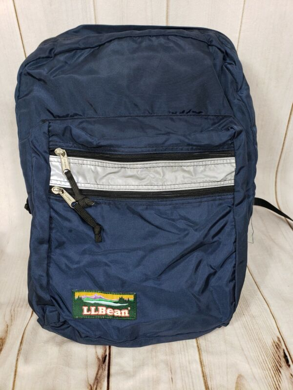 LL Bean Classic Blue Backpack Small Reflective VGUC
