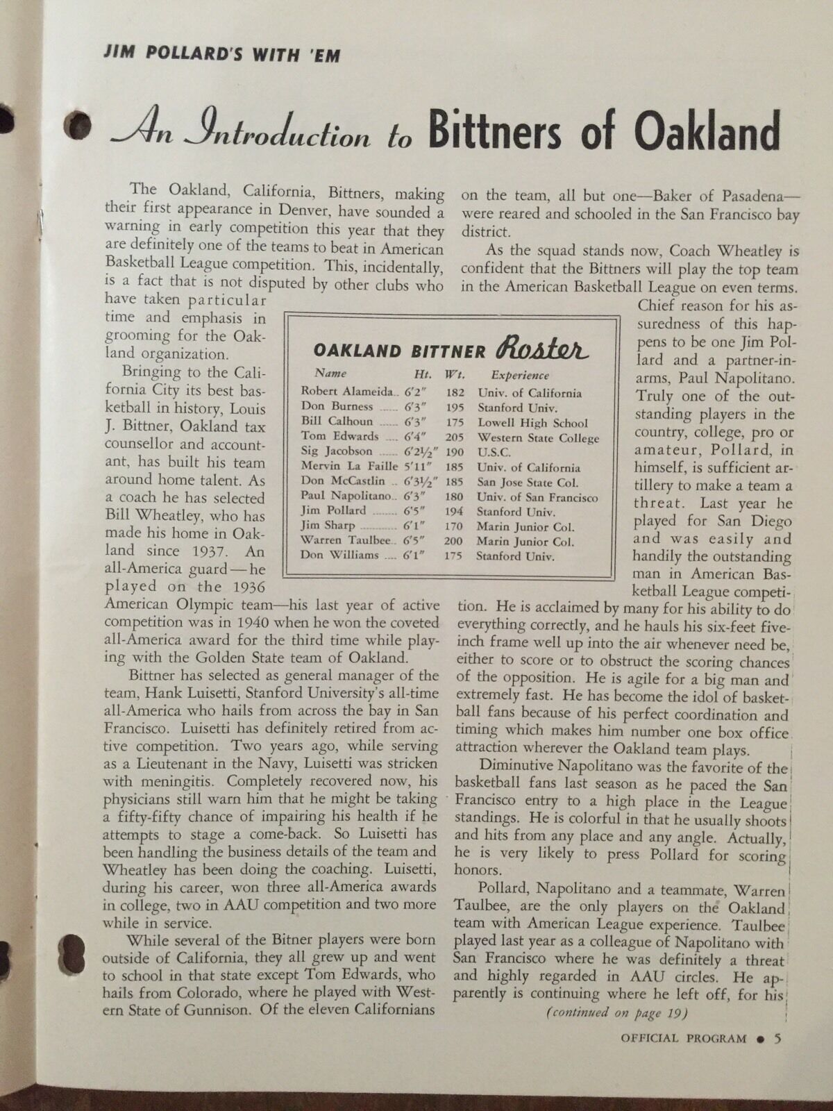 1947 RARE Oakland Calif Bittner s v Denver Nug s A B L Program