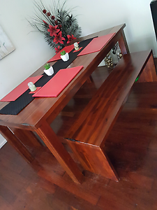 Solid timber dining table & beams Redbank Ipswich City Preview
