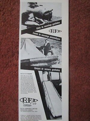 10/63 PUB RFD SAFETY CANOT LIFERAFT ESCAPE SLIDE LIFEJACKET SAR RESCUE FRENCH AD