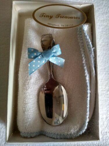 Silver Plated Spoon + Wash Cloth Gift Set Baby Boy Blue Polk