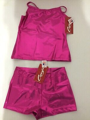 Child Capezio Dance Cami Top Boy Cut Shorts Set Metallic Hot Pink Many Sizes ()