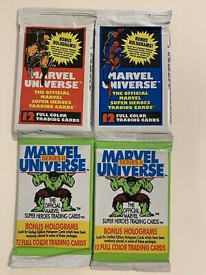 Lot (4) Packs 1990 Impel Marvel Universe Series 1 Series 2 two of each🔥