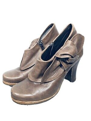 Anthropologie Giraudon Accoutrement Brown Bow Ankle Boots Booties Size 38~8 $298