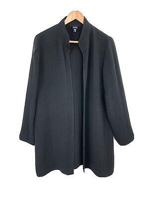 EILEEN FISHER L Black Long Rayon Silk Texture Crinkle Open Front Jacket Small
