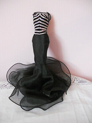 Barbie Stripe Bodice Black & Silver Sparkle Ruffled Mermaid Gown ~ Fits Vintage