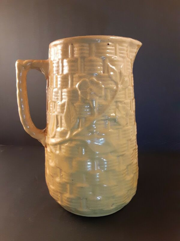 Rare Antique 1916 McCoy Willow Yellow Ware Pitcher Basket Weave Water Pitcher