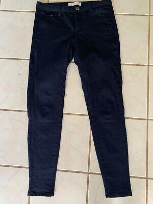Z1975 ZARA Denim MOTO Navy Blue Zipper Pockets Skinny Pants Jeans Sz US 6