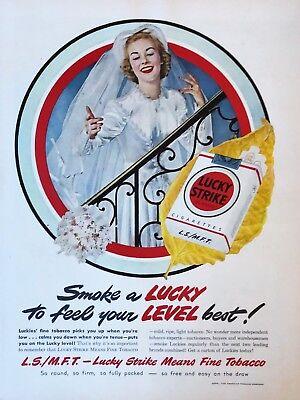Original 1949 Print Ad LUCKY STRIKE Cigarettes Smoke to Feel Level Best