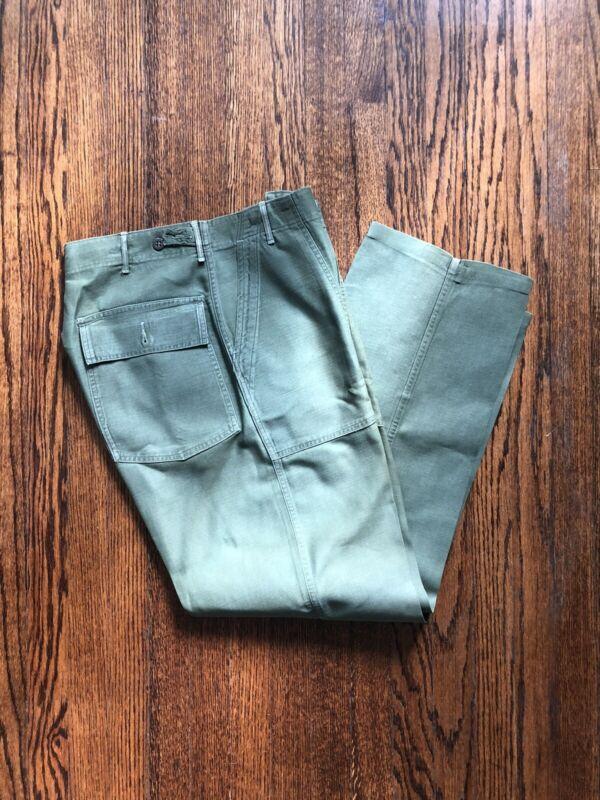 Vintage 60s Military Sateen Pants Trousers Vietnam Era OG-107 Army mens Medium