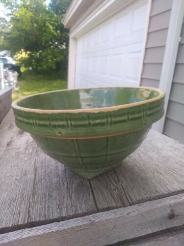 Antique McCoy Yellow Ware Green Mixing Bowl No. 8 Shield Logo