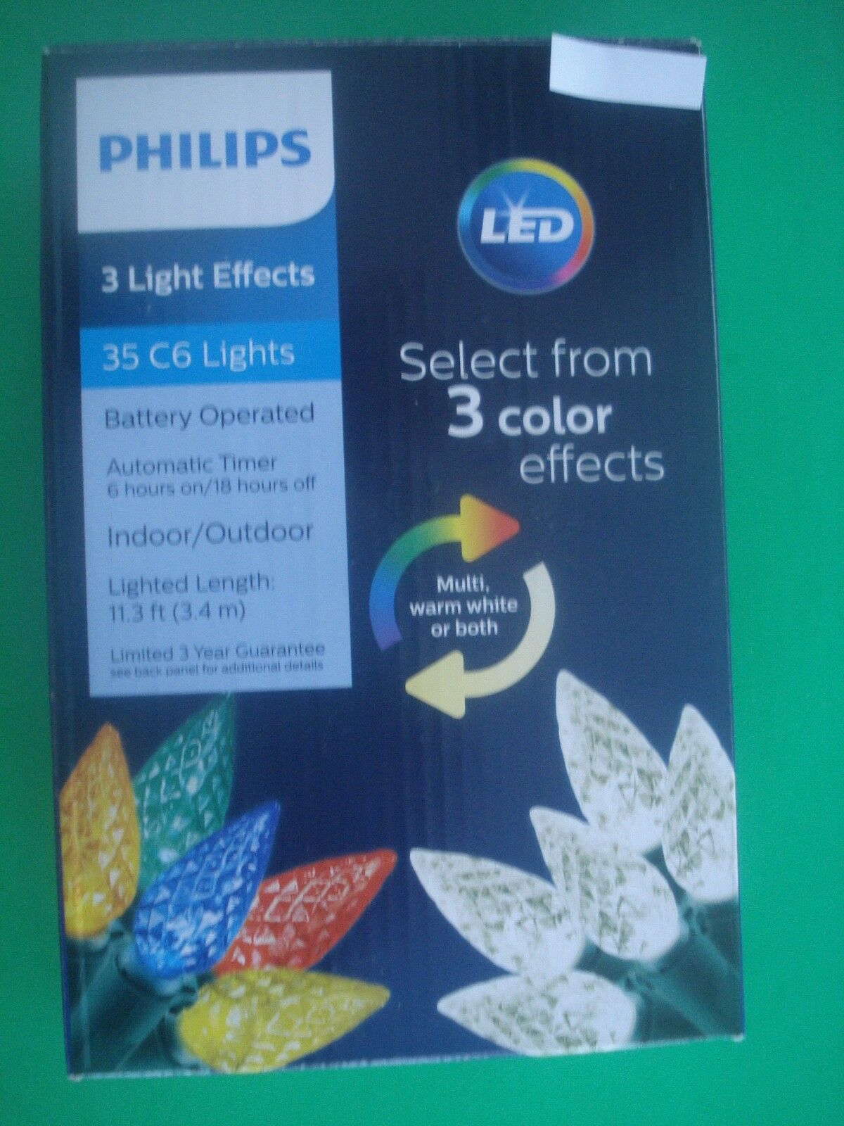 PHILIPS LED CHRISTMAS STRING LIGHTS 3 COLOR EFFECTS  BATTERY