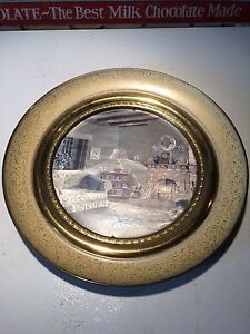 Made in England. Vintage. Solid brass round picture frame.