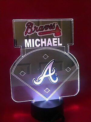 Atlanta Braves MLB Baseball Mirror Stadium Light Up Lamp LED Remote Personalized
