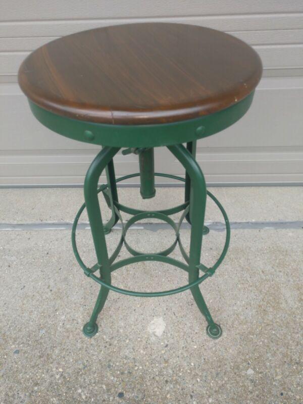 Vintage Toledo Stool UHL Steel Industrial Metal Drafting Adjustable Chair--NICE!