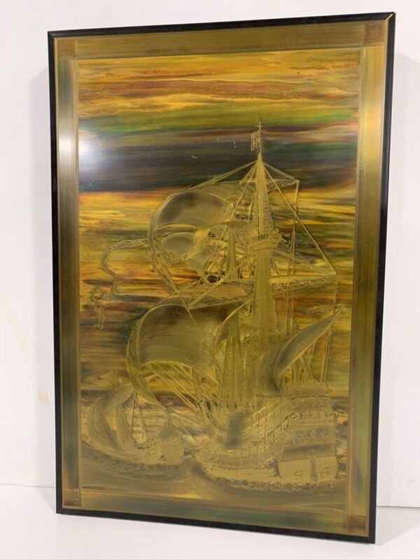 Bernhard E Rohne Mastercraft Brass Acid Etched Artwork Picture MCM