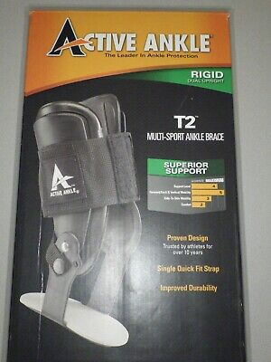 Active Ankle T2 Ankle Brace, Black Ankle Support for Men & Women, Ankle Braces M