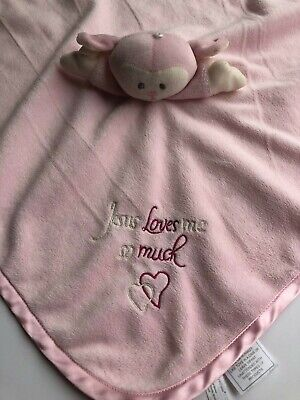 Family Christian Stores Pink Bear Lovey Security Blankie Blanket Jesus Loves Me (Stores Bear Me)
