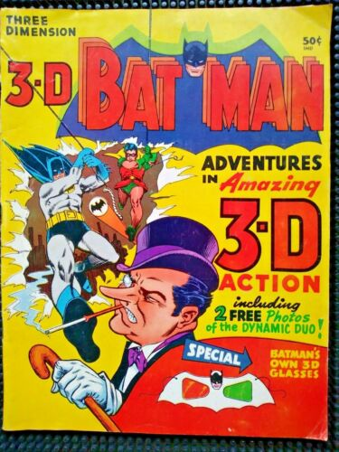 Bat Man 3-D Comic Adventures in 3-D Action 1966 National Periodical 3-D Glasses
